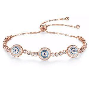 NEW Rose Gold 925 Adjustable Evil Eye Bracelet